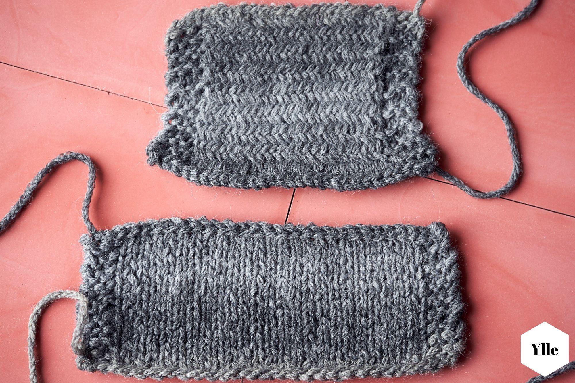 Glatt rechts stricken & Fischgrätmuster Vergleich
